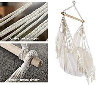 White Hanging Hammock Chair Relax Tassels Outdoor Chair
