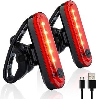 LRIFUE 自行车 尾灯 2个装 USB充电LED灯 防水闪烁自行车灯 4种亮灯模式 提高安全灯 夜间行驶的可视性 安装简单