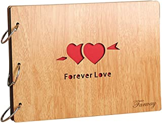 Farway Photo Album DIY 8 X 10 Inch Self-Adhesive Black Pages Scrapbooking Hollow Wood Cover Anniversary 3-Ring Binder Scrapbook for Wedding Friend Family Graduation Travel Memory (Forever Love)