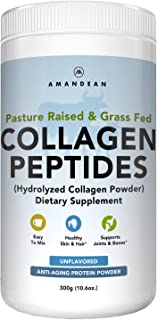 Amandean Collagen Peptides Powder | Grass-Fed, Hydrolyzed, Enhanced Easy Solubility | Perfect 30 Day Supply | Promotes Hea...
