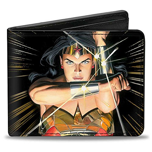 Buckle-Down mens Buckle-down Pu Bifold Wallet - Wonder Woman Mythology Crossed Pose Wallet ,Multicolor ,4.0' x 3.5'