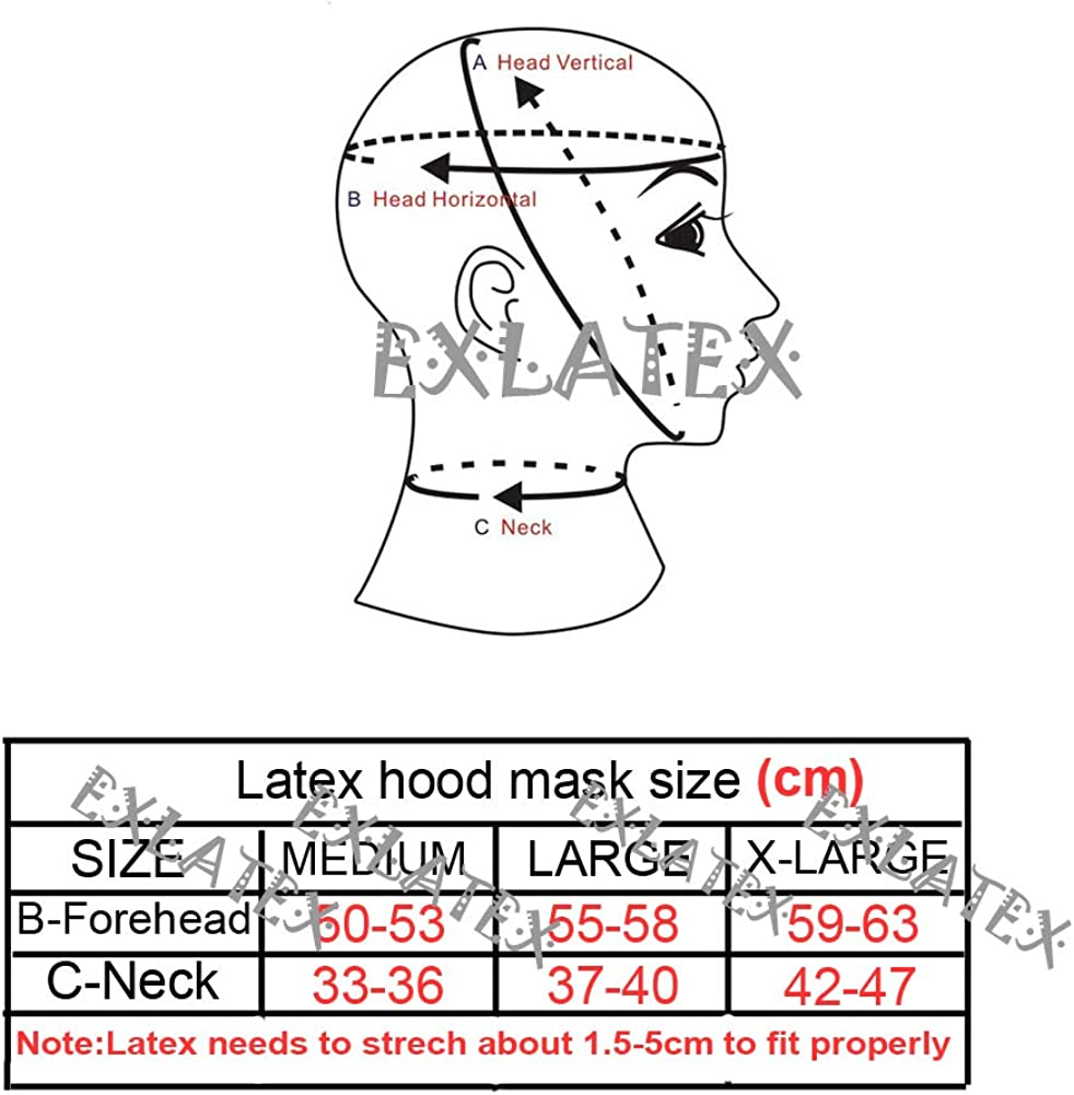 EXLATEX Latex Hood Men Rubber Mask Opened Jaw and Perforated Eyes with Nostril Party Mask