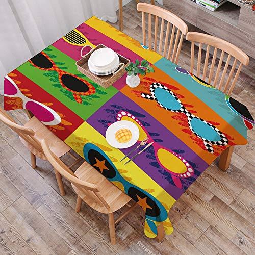 Moderna Cotone Lino Anti-Macchia Tovaglie,Decorazioni per feste anni '70, occhiali da sole in stile pop art Combinazione color,tovaglia rettangolare in cotone e lino, per cucina e esterni, 140*200cm