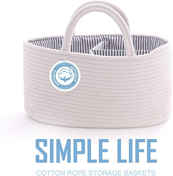 TMINNOV Nursery Storage Caddy Basket Organizer Woven Cotton Rope With Handle And Divider Portable Large Capacity Basket Tote Bag For Baby Diapers Laundry Toys Blankets Milk Bottles