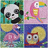 4 Pack 5D Diamond Painting by Number Kit for Children,DIY Full Drill Diamond Dots Cross Stitch Beginners Art Crafts Kits,Kids Gift for Home Wall Decor 15x15CM (Panda , Parrot Bird, Flamingo and Owl )
