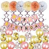 Integrity.1 Decoración de Fiesta de Cumpleaños, Decoraciones de Fiesta de Globos de Cumpleaños, Pancarta de Feliz Cumpleaños, Bola de Flores de Papel, Globos