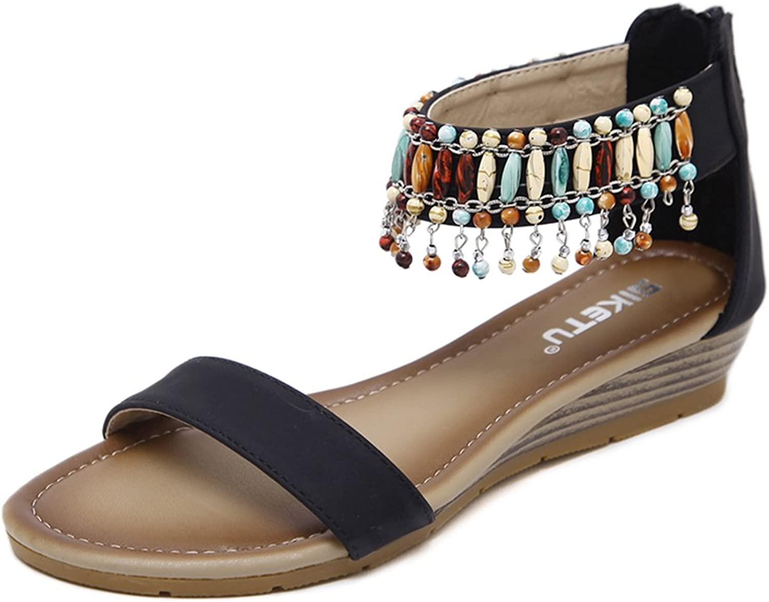 Tuoup Women's Beaded Jeweled Leather Zippered Sandals Sandles