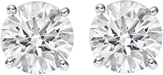 1-3 Carat 18K White Gold GIA Certified Round Cut Diamond Earrings 4 Prong Push Back Luxury Collection (D-E Color, VS1-VS2 Clarity) - Ideal Cut