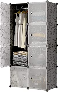 KOUSI Portable Closet Clothes Wardrobe Bedroom Armoire Storage Organizer with Doors, Capacious & Sturdy, Black (5 Cubes&1 Hanging Section)