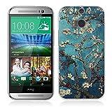 HTC One M8 Hülle, Fubaoda 3D Erleichterung Klassische Blume Muster TPU Case Schutzhülle Silikon Case für HTC One M8