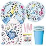 BashBox Alice In Wonderland Birthday Party Supplies Pack Including Cake & Lunch Plates, Cutlery, Cups, Napkins (8 Guests)