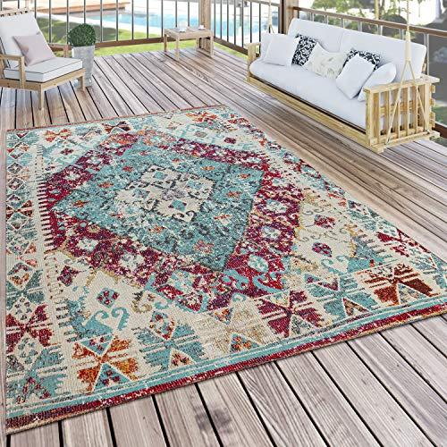 Paco Home In- & Outdoor-Teppich Für Balkon U. Terrasse M. Orient-Design, Kariert In Lila, Grösse:120x170 cm