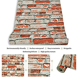 JZHOME YT6501 Red Brick Wallpaper Roll,3D Vintage Faux Brick Panel Wallpaper for Bedroom Living room Cafe Bar Wall Decoration 393.7in×20.9in