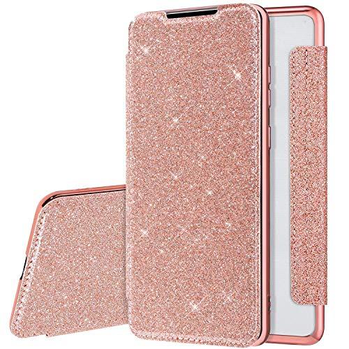 Glitzer Hülle für Samsung Galaxy A50 Hülle Ledertasche,Galaxy A50 Lederhülle Handyhülle Wallet Brieftasche Flip Tasche Schutzhülle,Bling Glänzend Flip Hülle Handy Tasche Hülle Cover,Rose Gold