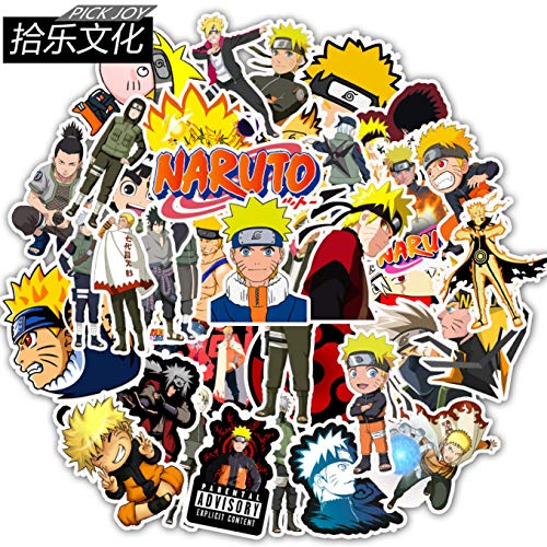 Aohua Homely 50\/100stks Anime Naruto Stickers voor auto Laptop PVC Rugzak DIY Skateboard Stickers Piture color
