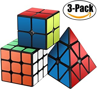 Speed Cube Set, Magic Cube Set of 2x2x2 3x3x3 Pyramid Pyraminx Smooth Puzzle Cube