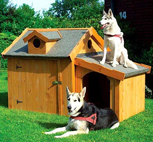 Hundehütte XXL mit Anbau für mittlere und große Hunde