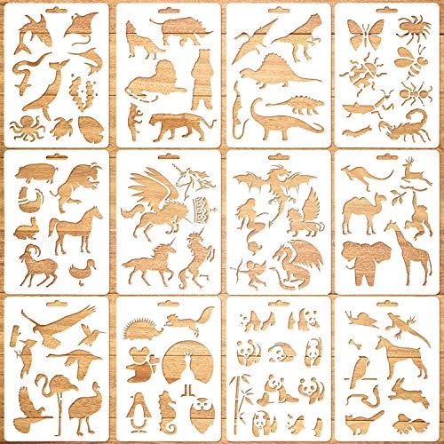 Qpout 12Pack Tierschablonen-Vorlagen für Kinder,Wiederverwendbare Plastik-Tiermalerei-Schablonen für Kinder-Notizbuch-Journal-Sammelalbum-Malerei auf Holz-Karten-Basteldekoration