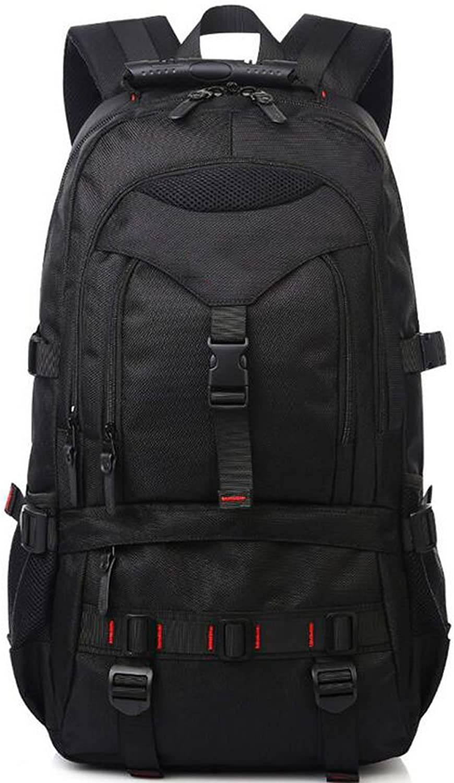 Large-Capacity Backpack Men Light Travel Bag Hiking Outdoor Backpack Waterproof with Lock Security Computer Bag (color   Black)