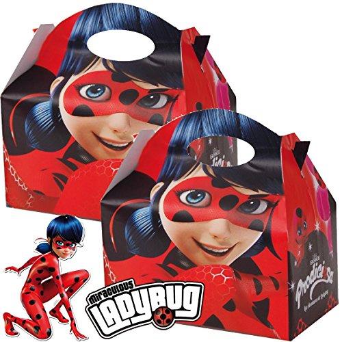 4 Geschenkboxen * LADYBUG * aus Pappe für Kindergeburtstag und Superheldinnen-Mottoparty // Miraculous Ladybug Marienkäfer Party Kinderparty Mitgebsel Geschenktüten Tüten