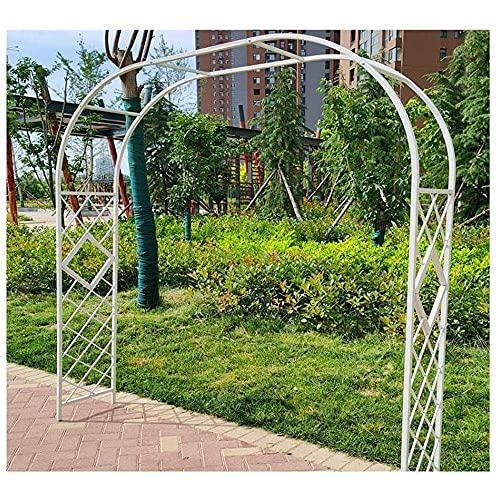 CCLLA Arco de jardín de autoensamblaje, para Enrejado de Plantas trepadoras, cenador de Rosas de jardín de Metal de Estilo Europeo/Blanco / 3 * 2,3 m