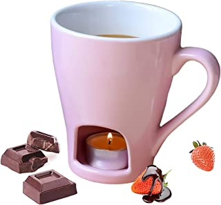 Sweetheart Chocolate Fondue Mug Set Cheese pot - 1 Forks (Does not Include Candles)(Pink)