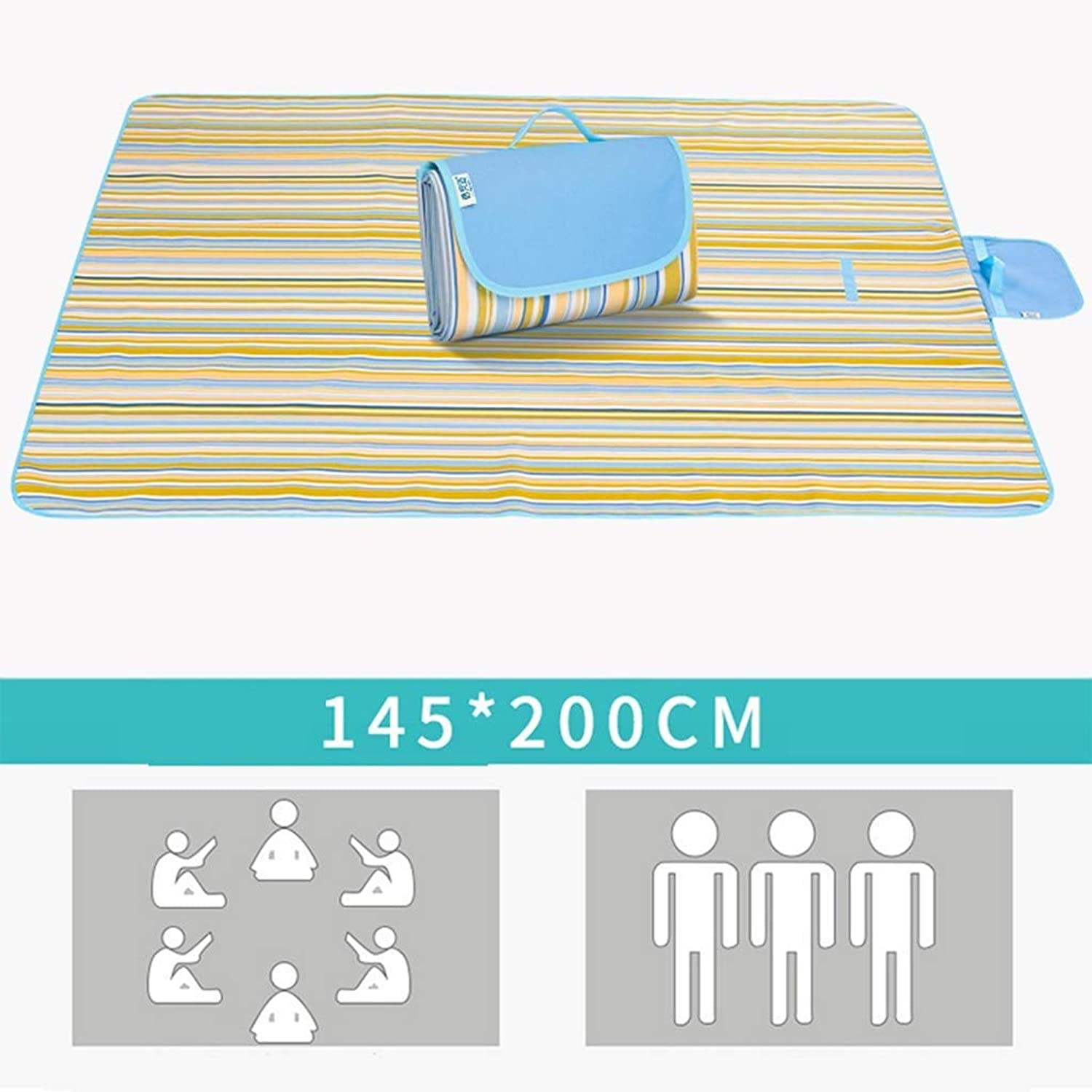 Picnic Blanket, Outdoor Portable Padded Beach Mat, Waterproof and Sand Resistant, Suitable for Camping Hiking Festivals