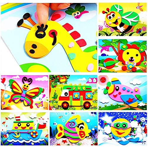 J&C 20pcs 3D EVA Foam Sticker Puzzle Game DIY Cartoon Animal Learning Education Toys for Toddler Kids Art Craft Kits (kidslove A)