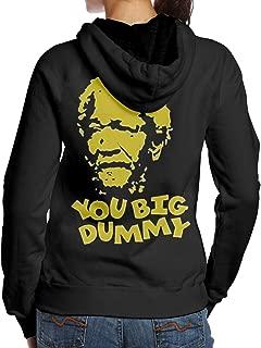 Women's You Big Dummy Redd Foxx Sanford & Son Cute Casual Long Sleeve Hoodie Sweatshirt Hip Hop Pullover Black