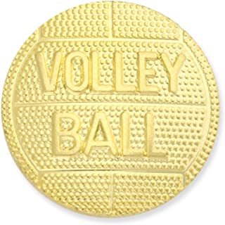 PinMart's Round Volleyball Gold Chenille Sports Lapel Pin