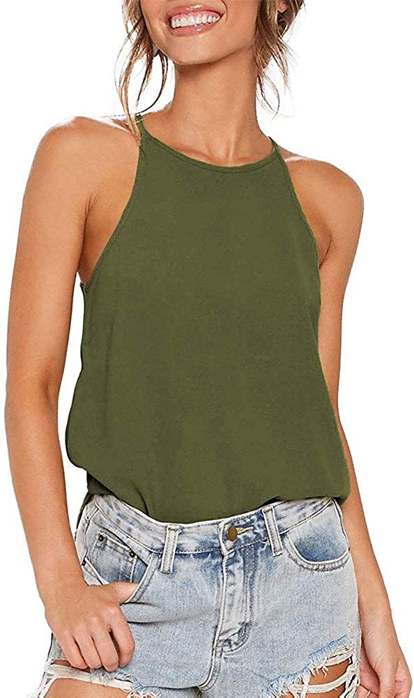 Chatinction Womens Halter Tops Casual Sexy Sleeveless Summer Spaghetti Strap Tank Tops Shirts High Neck Casual Cami Tops Tee