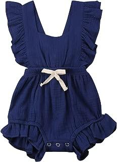VISGOGO Toddler Baby Girl Ruffled Rompers Sleeveless Cotton Romper Bodysuit Jumpsuit Clothes