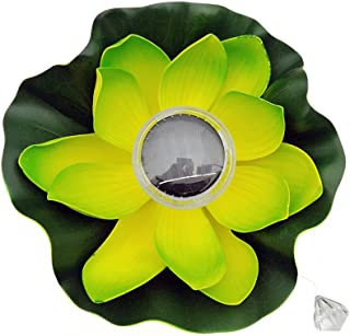 Alisena 0.2W Solar Powered Multi-Colored LED Lotus Flower Lamp RGB Water Resistant Outdoor Floating Pond Night Light Auto On//Off for Garden Pool Party Ideal Gift Light Yellow