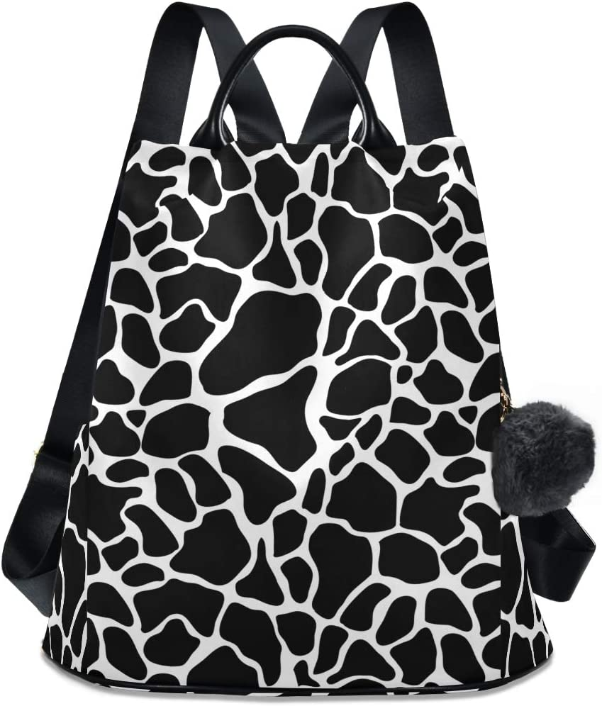 ALAZA Giraffe Skin Factory outlet Black And White Shopping Backpack Daily for T Max 61% OFF