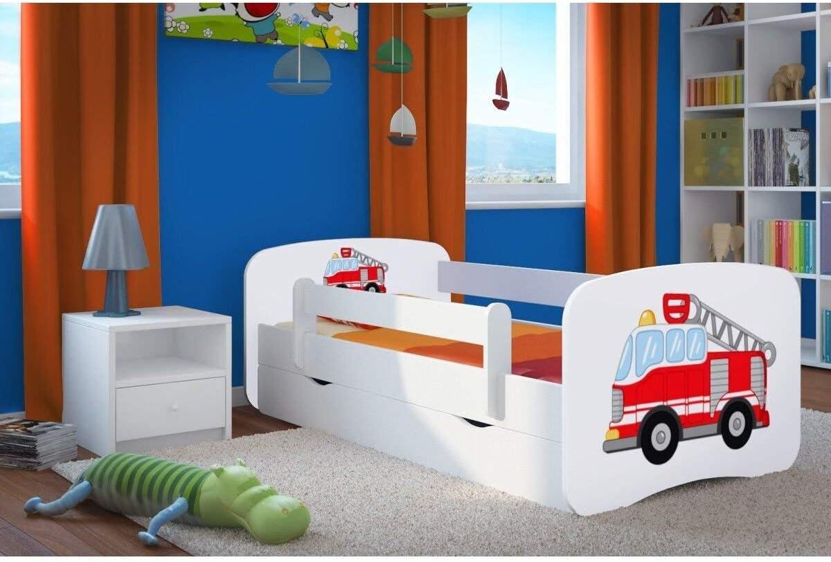 Wonderhome24 Cama Infantil, Cama de niño Blanco con colchón y cajón incluidos. Niños Niños Cama Junior, Animales, Coches  ,(Safari,140x70)