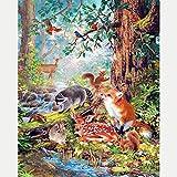 Pintura Diamante 5D Completo Animales del bosque Adultos DIY Diamond Painting kit de punto de cruz Bordado Diamante Arte Niños Principiantes Regalo Decoración del Hogar 30x40cm