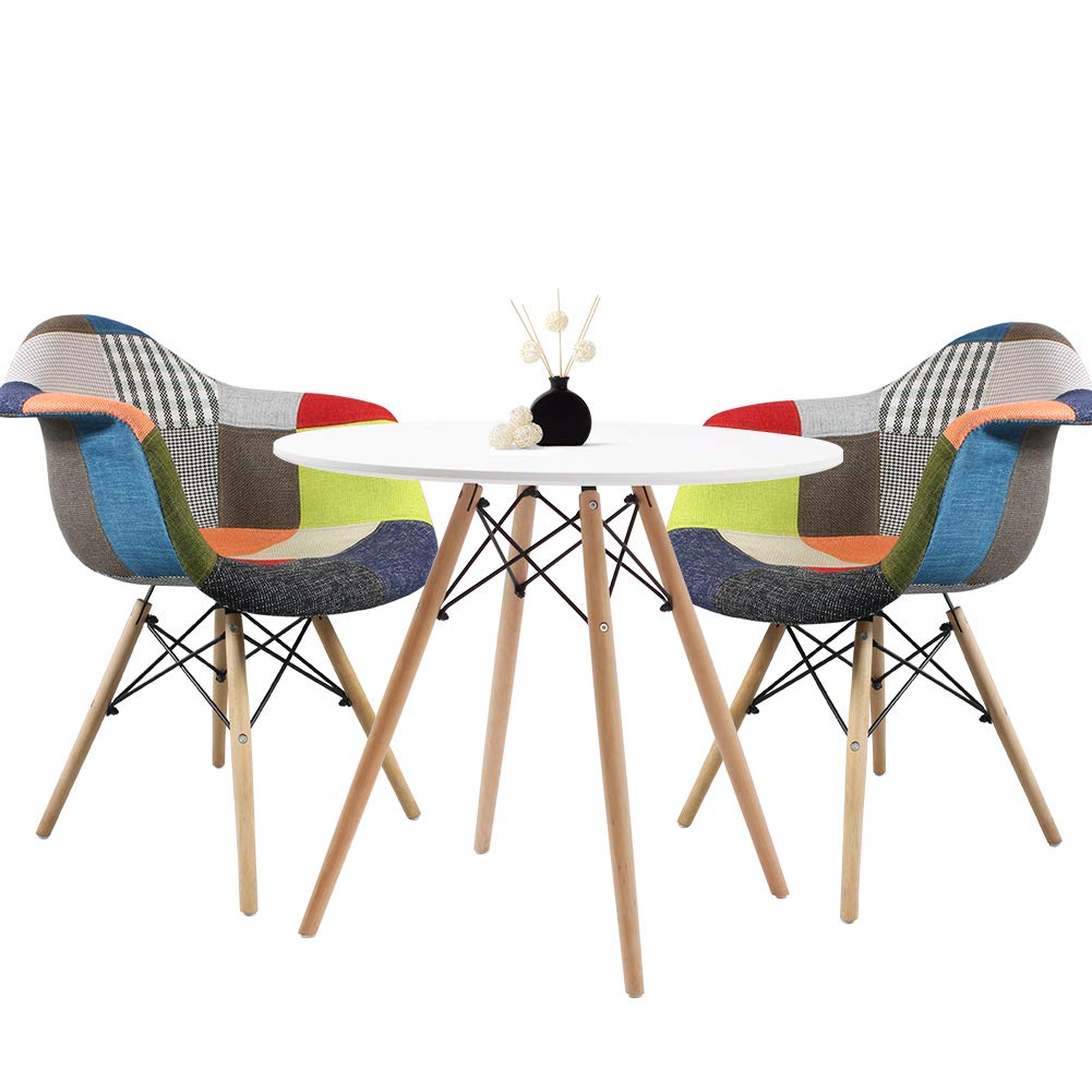 Dining Table And Patchwork Chair Set Of 2 Fabric Retro Style Armchair And Round Table Dining Room Set Home Office Furniture Buy Online In Montenegro At Montenegro Desertcart Com Productid 122382037