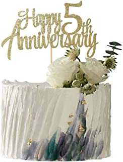 YUINYO 5th Anniversary Party Decoration Gold Glitter 5th Happy Anniversary Cake Topper - Forever 5 Party Favors 5th Annive...