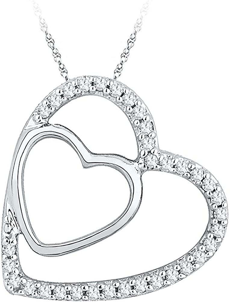 10kt White Detroit Mall Limited time cheap sale Gold Womens Round Diamond Ct 8 Double 1 Pendant Heart