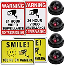 Fake Cameras Includes 4 dummy Cams And 2 No trespassing signs - 2 Smile You Are On Camera Signs Mega Set Of 8 Includes Stickers And Screws To Easily Hang It Up Great For Buildings, Offices Indoor & Outdoors