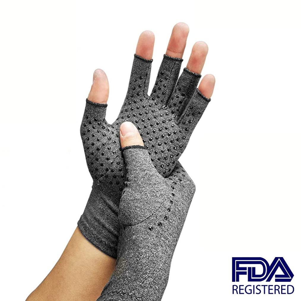 単調なデマンド雄弁な圧縮関節炎手袋、関節リウマチおよび変形性関節症用の指なし手手袋-関節痛および心皮トンネルのリリーフ-男性および女性