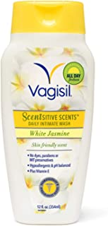 Vagisil Scentsitive Scents Daily Intimate Feminine Wash for Women, Gynecologist Tested, White Jasmine, 12 Fluid Ounce