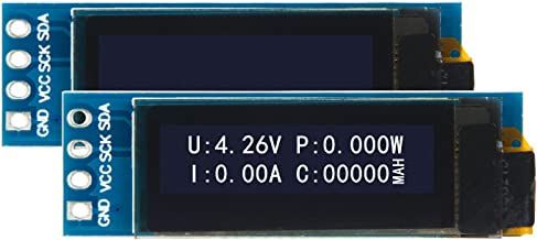 2 pcs 0.91 Inch OLED Display Module with I2C Interface&SSD1306 Compatible with Arduino Driver DC 3-5V (White)