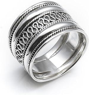 Silverly 男女中性款式 925纯银 巴厘岛风格细绳弯曲盘绕宽度15.3mm拇指戒指指环