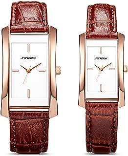 SINOBI Women Brown Leather Wristwatch, Business Casual Lady Men Designer Simple Rectangular Watch