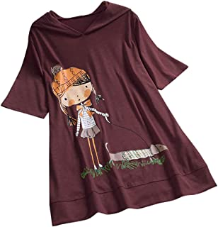 Willow S Plus Size Women Casual Hooded Pullover Cartoon Print Short Sleeve Loose Top T-Shirt Blouse