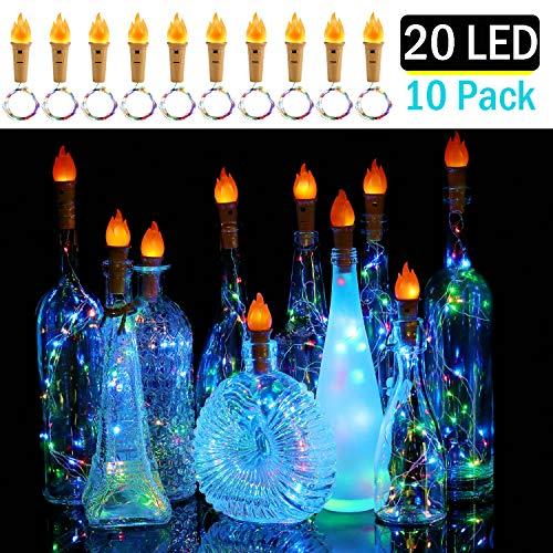 10 Stück Flaschen Licht mit Flamme 20 LED Lichterkette batteriebetriebene Kupferdraht Kork Flaschen-Licht,Weinflasche Lichter mit Kork Schnurlicht für DIY Deko,Hochzeit,Weihnachten,Party