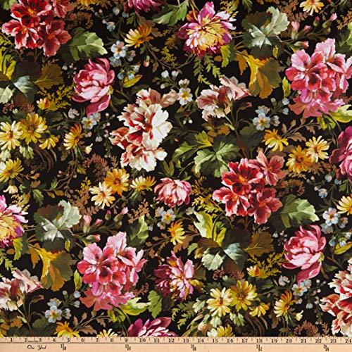 Michael Miller Victoria's Garden Splendid Bouquet Black Fabric by The Yard