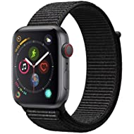 Apple Watch Series 4 (GPS + Cellular) Space Gray Aluminum Case with Black Sport Loop, 44mm (Renewed)