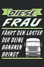 DIESE FRAU FÄHRT DEN LASTER DER DEINE BANANEN BRINGT: LKW und Straßenverkehr mit Auto. Liniert, kariert und punktiertes No...